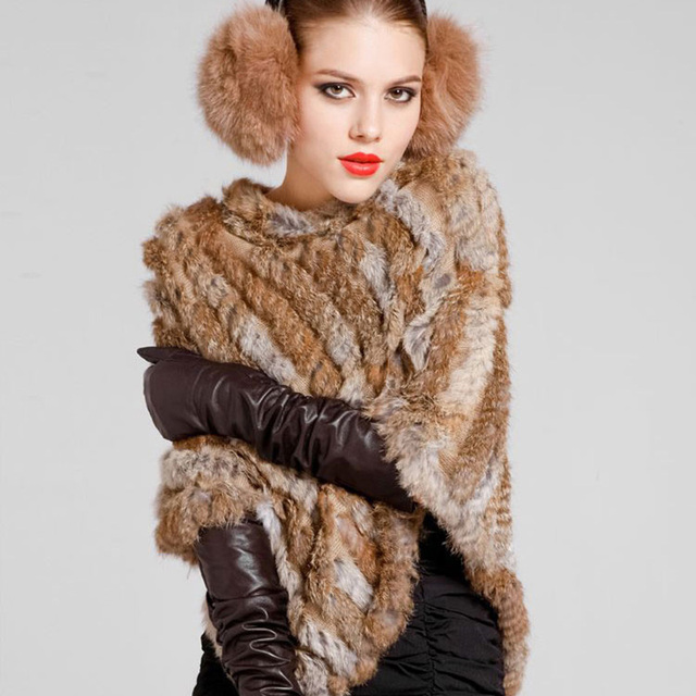 79296e778 New winter scarf Women Vintage Pullover Knitted Genuine Rabbit Fur Poncho  Cape Real Fur Knit Wraps Triangle Shawls hijab
