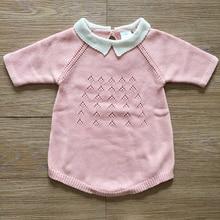 77731a4cc1e Heißer Baby Gestrickte Kleidung Sieben Sleeve Infant Overall Kragen Baby  Stricken Insgesamt Romper Neugeborenen Mädchen Kleidung