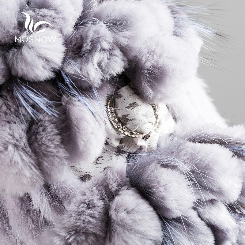 정품 밍크 모피 겨울 모자 여성 렉스 토끼 꽃 솔리드 - 의류 액세서리 - 사진 5