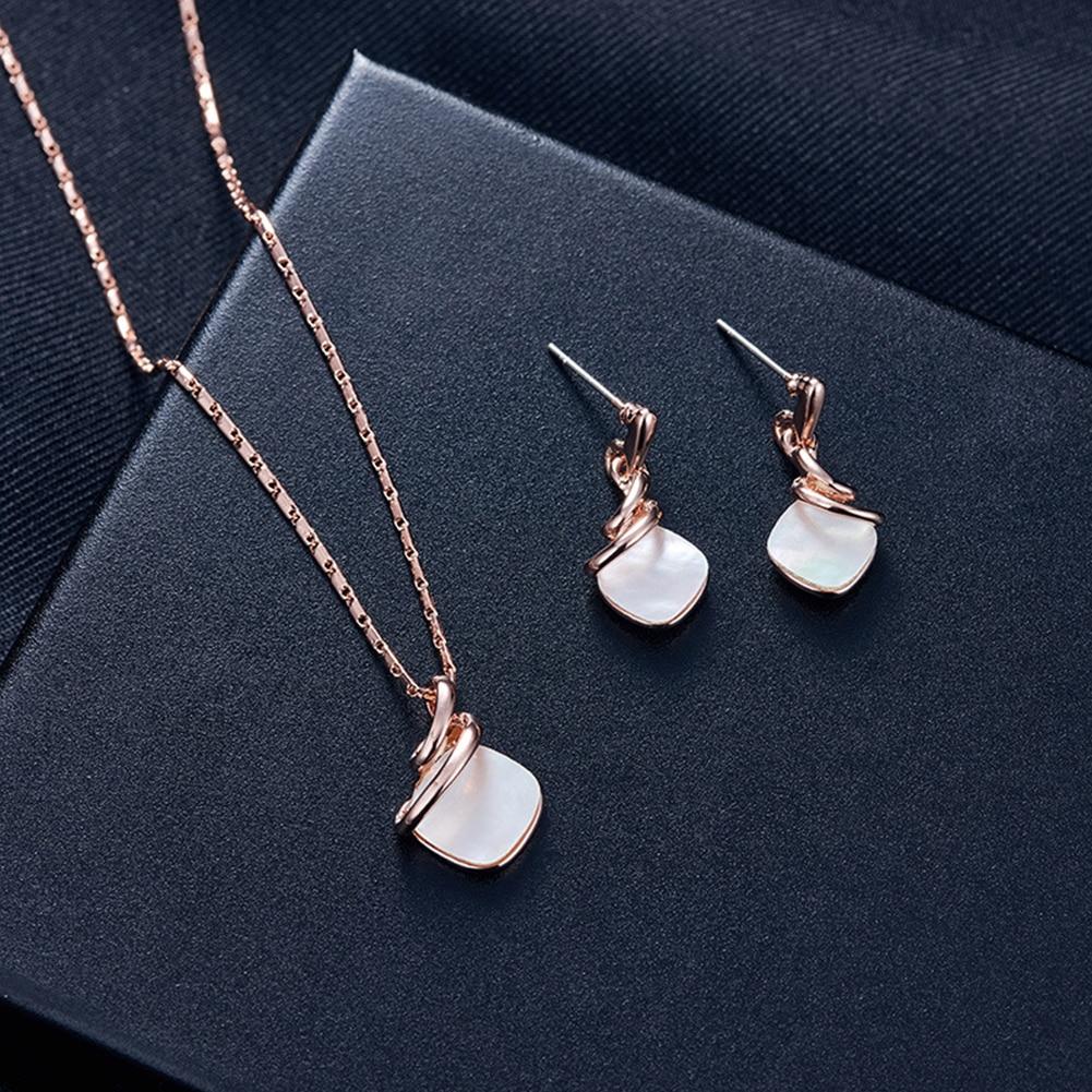 cheap wholesale online stores Twist Square Rhinestone Pendant Women black wedding sets Ear Stud Earrings Necklace Jewelry Set online sale sites Jewelry Sets jh76424408