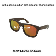 hot selling orange UV400 polarized lens bamboo sunglasses with opening cut for changing lens