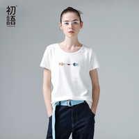 To Youth 2015 Women Summer Embroidery Fish Pattern O Neck Basic Female Loose Casual Tee T