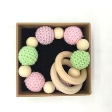 Wooden Teething Bracelets Set Montessori Toldder Toys Mom Nursing Jewelry Organic ECO Crochet Beads Natural Wood Beads