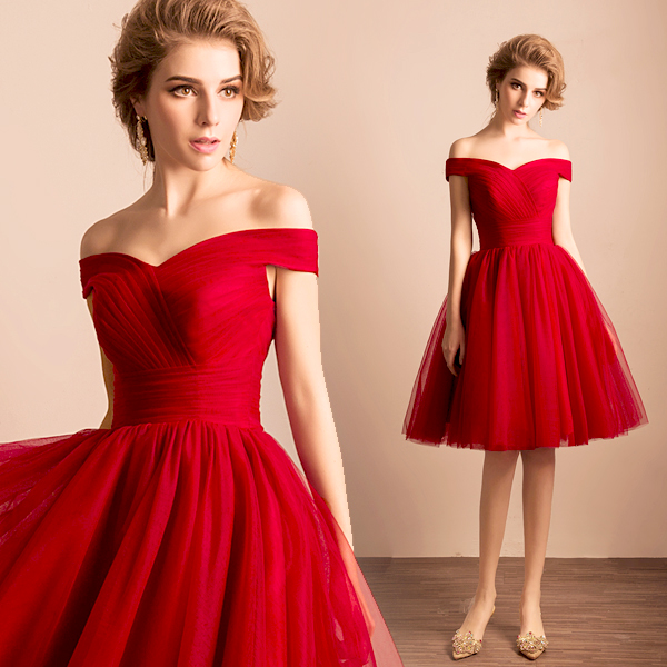 Cheap Elegant Off the Shoulder 2016 Red Short Prom Dresses Sweetheart with Short Sleeves Bridesmaid Dresses vestido de festa-in Prom Dresses from ...