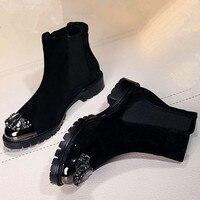 Женские сапоги со стразами без застежки в западном стиле женская обувь с кристаллами Туфли без каблуков с металлическим носком полусапожки