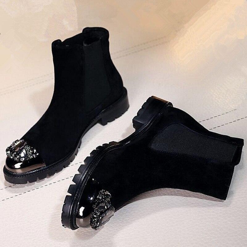 Женские сапоги со стразами без шнуровки обувь в западном стиле женские балетки со стразами с металлическим носком полусапожки в римском ст