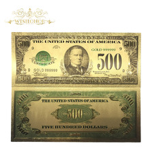 10pcs/lot Souvenir Gifts For United States 500 Dollar Bill America Gold Banknote 99.9% Plated Collection