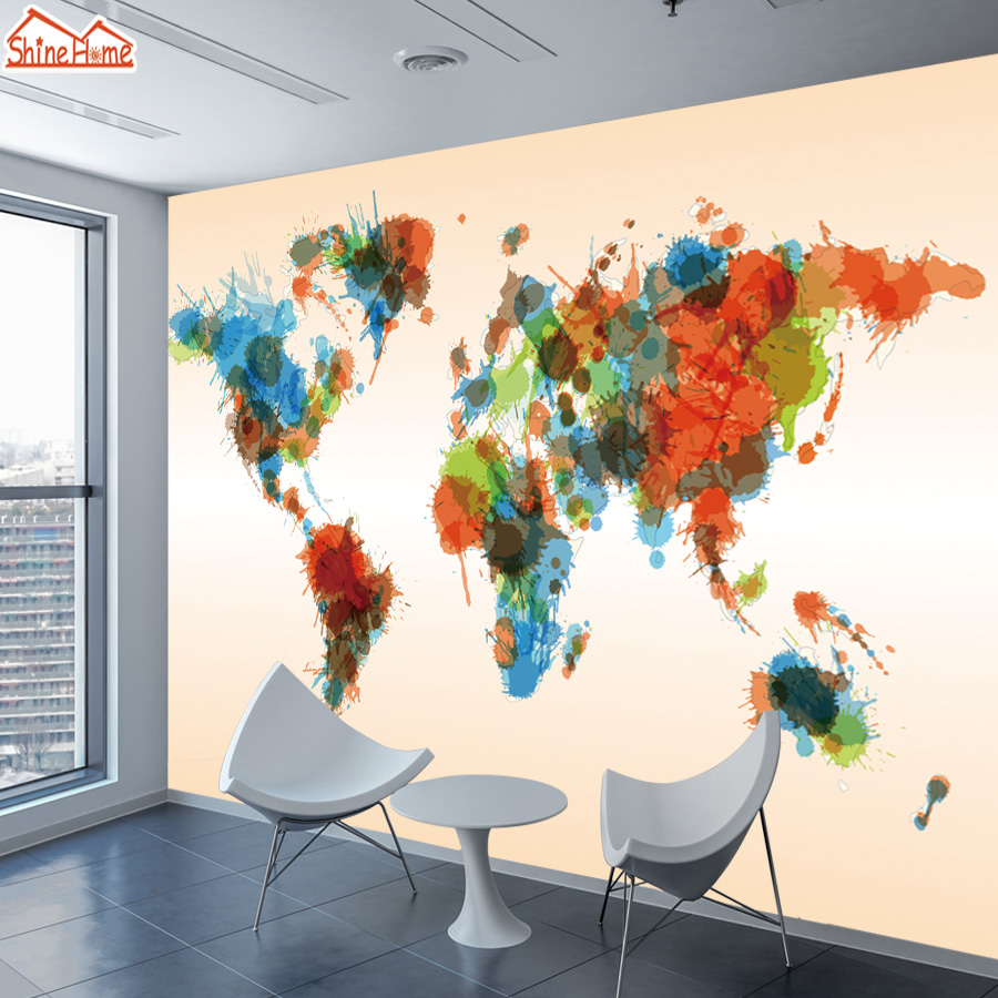 8d Silk 3d Photo Wallpapers Wall Mural Paper Wallpaper For Living Room Walls In Rolls Papers Home Decor Self Adhesive World Map