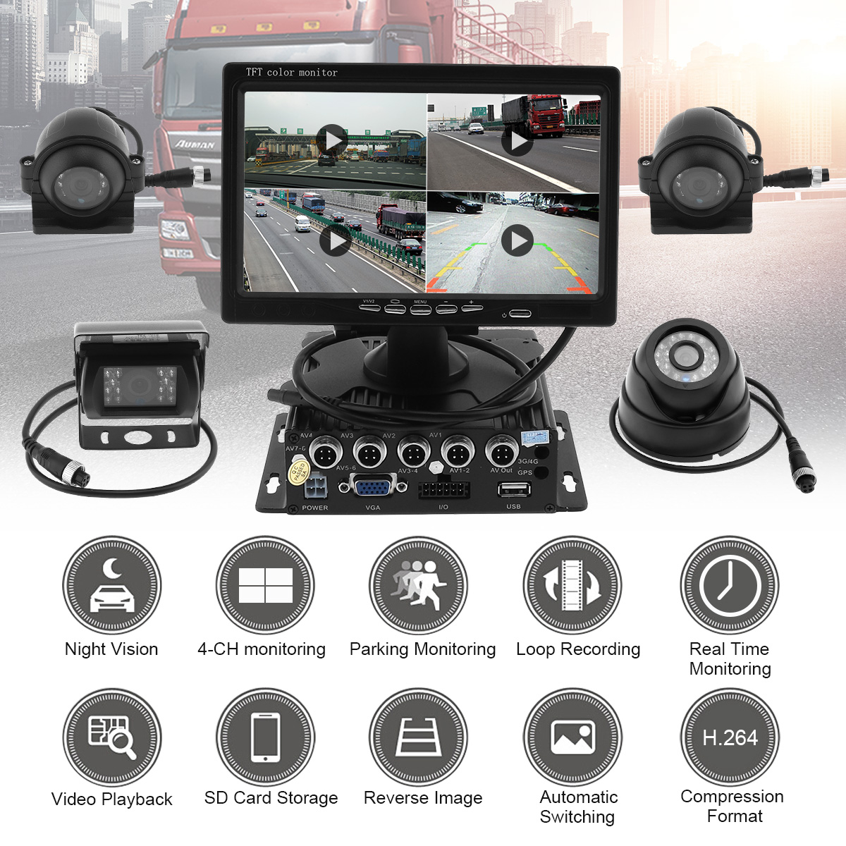 7 Inch Quad Split Screen Monitor 4x Side Rear View CCD Camera System support Truck RV split side tee