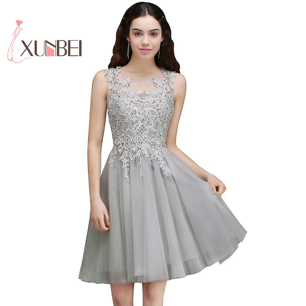 Robe De Soiree Gray Beaded Appliqued Short Tulle Prom