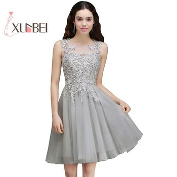 Robe De Soiree Gray Beaded Appliqued Short Tulle Prom Dresses Formal Sleeveless Graduation Homecoming  Dress Party Gown