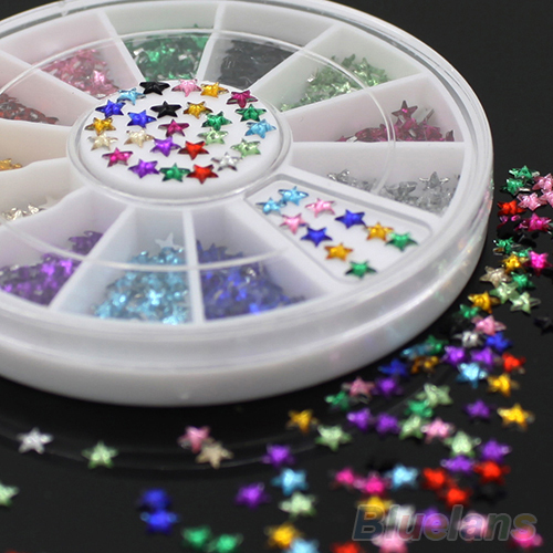 24sets  12 Colors 3D Pentagram Stickers DIY Decoration Beauty Studs Nail Art Tips Wheel