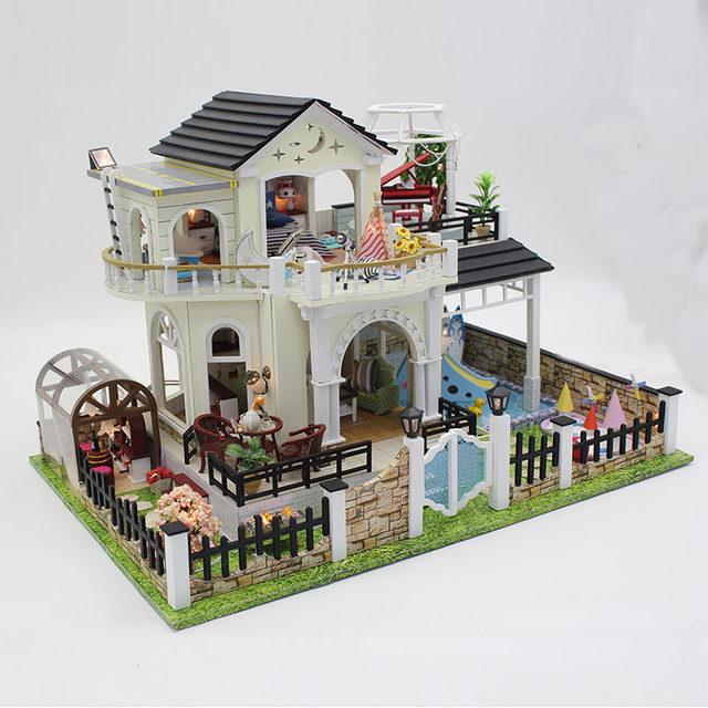 Online Shop D030 DIY Mini villa model large wooden doll house