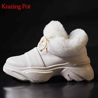 Krazing Pot sheep fur genuine leather brand shoes lace up leisure casual round toe sneaker wedges platform vulcanized shoes L20
