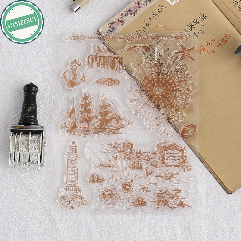 Unique Sailing Boat Compass Transparent Stamp Cling DIY Seal Craft Art Scrapbooking Photo Album Paper Card Diary Handbook Making diary handbook decoration animal post stamper silicone rubber stamp for scrapbooking album design for diy photo paper card craft