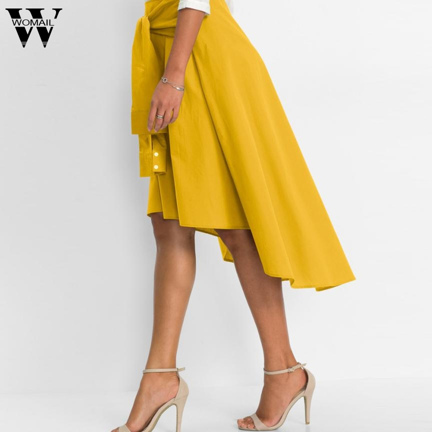 WOMAIL Women Flared Knee Length Skater Skirt Ladies Casual Mini Office Work  Skirt Asymmetric High Low Skirts N6-in Skirts from Women s Clothing ... aa60ef40f