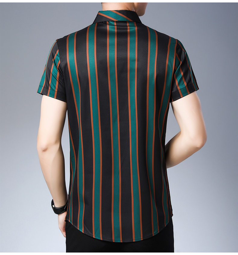 2019 new casual summer luxury striped short sleeve slim fit men shirt streetwear social dress shirts mens fashions jersey 50567