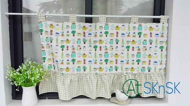Customized Japan style fashion Pastoral fresh cartoon coffee curtains  kitchen decoration multi design short curtain for