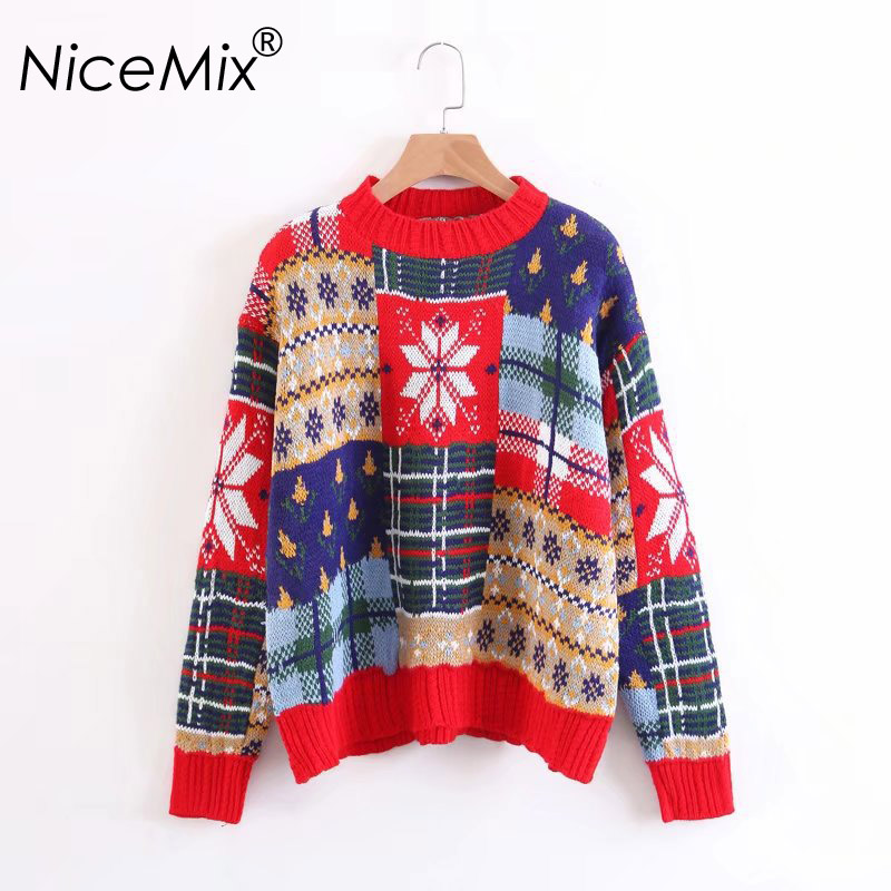 NiceMix 2018 New Fashion Winter Christmas Sweater Women Snow Pattern Kawaii Cotton Pullover Female Loose Knitted Sweaters Jumper