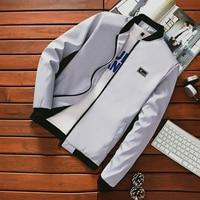 Summer Autumn 2019 Mens Slim Jackets Stand Collar Windbreaker Male Blue Baseball Jackets Casual Thin High Quality