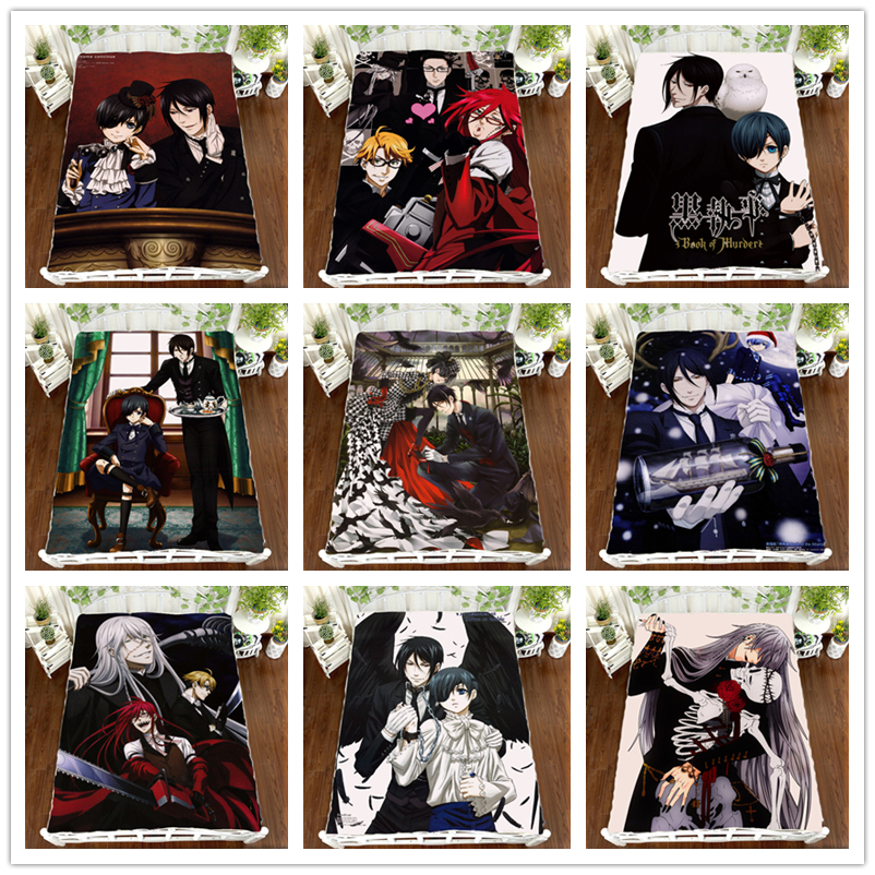Anime Black Butler Sebastian Ciel Bed sheet Blanket Bedding 150*200cm 4pcs #L6HB