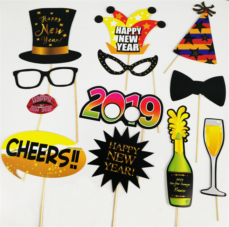 16inch number 2019 foil balloons happy new year 2019 diy photo props banner glasses mask christmas