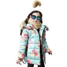 2017 New Girls Winter Warm Coat Kids School Hooded Jacket Flower Print Kids Fashion Thick Snow Wear Cotton Down Winter Coats