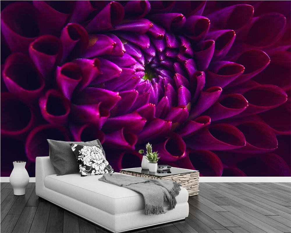 Beibehang Custom Wallpaper Dark Purple Flower Wall TV