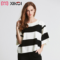 XIKOI New Women T shirts Striped O neck Fashion Casual Spring Brief Flat Tops Jumper 2018 Summer