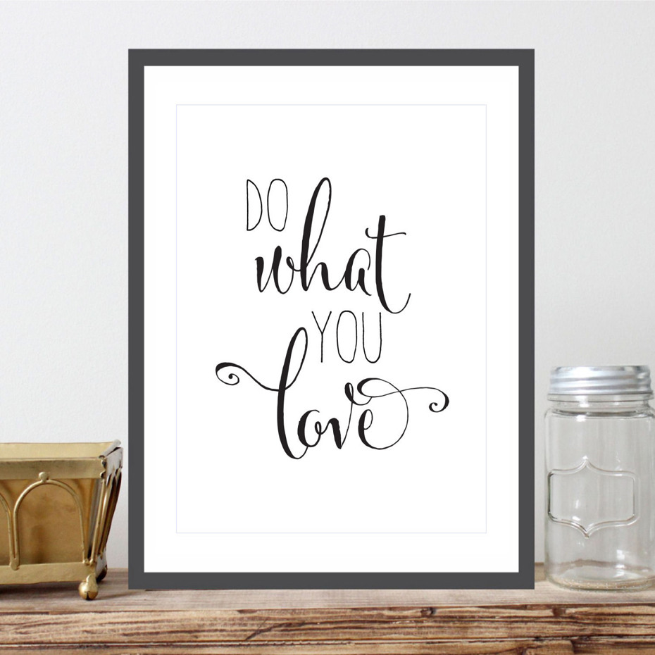 Love Quote Canvas Do What You Love Quote Canvas Painting Nursery Wall Art Black