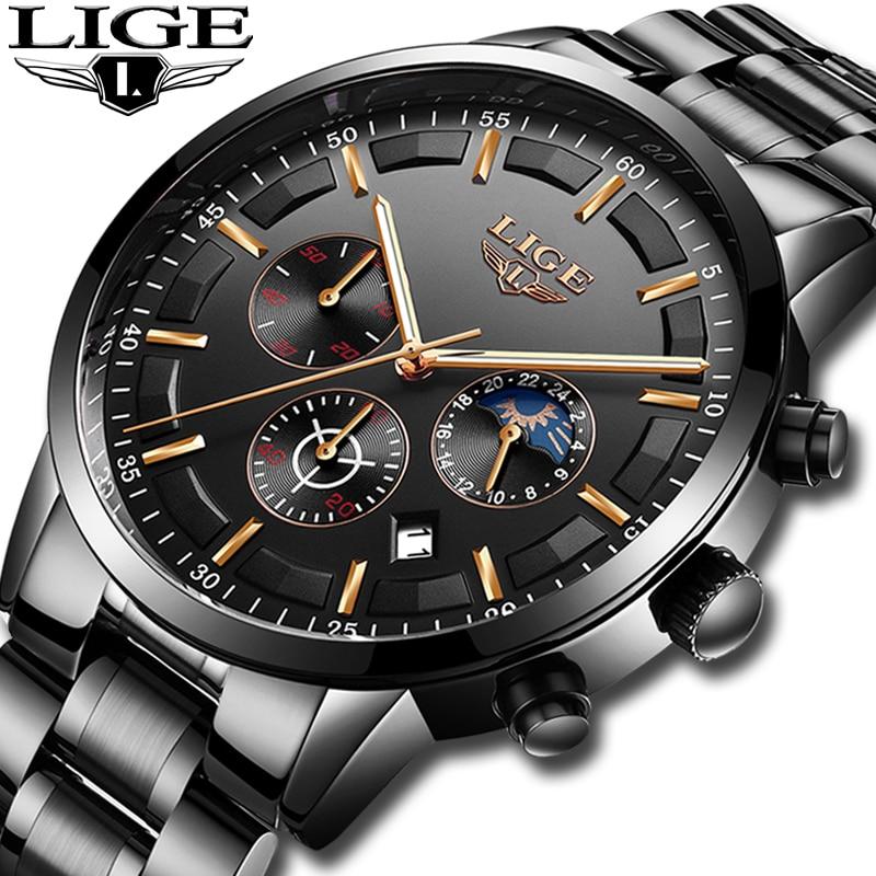 Relogio Masculino LIGE Mens Watches Top Brand Luxury Clock Men All Steel Quartz Wrist Watch Men Waterproof Sport Chronograph+Box
