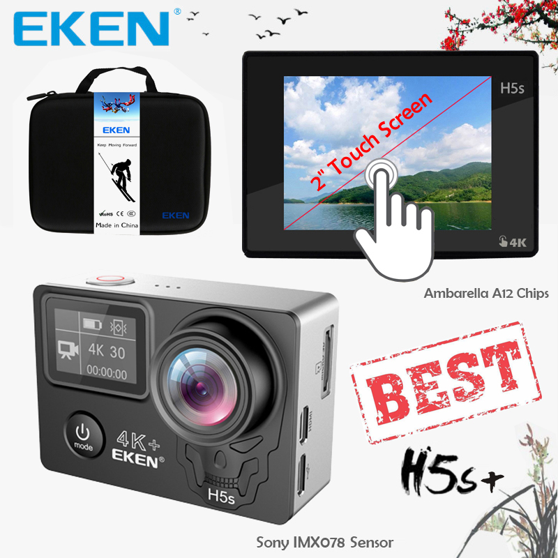 EKEN H5s Plus 4 Karat + Touchscreen Kamera Ambarella A12 Chipset 4 Karat 30fps EIS Bildstabilisierung Wasserdichte Wifi Sony Sensor Kamera