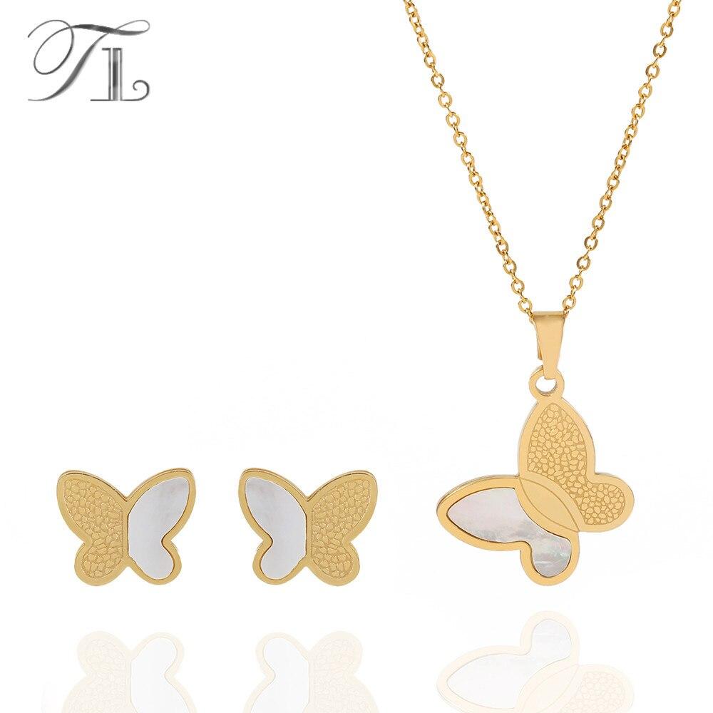 TL D'oro Insieme Dei Monili Della Farfalla Per Le Donne Borsette Modello Ala di Farfalla Collane e Orecchini Insieme Dei Monili Dell'acciaio Inossidabile di Modo