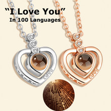 26 Styles Gold Silver Flower 100 languages I love you Projection Pendant Necklace Romantic Love Memory Wedding Necklace(China)