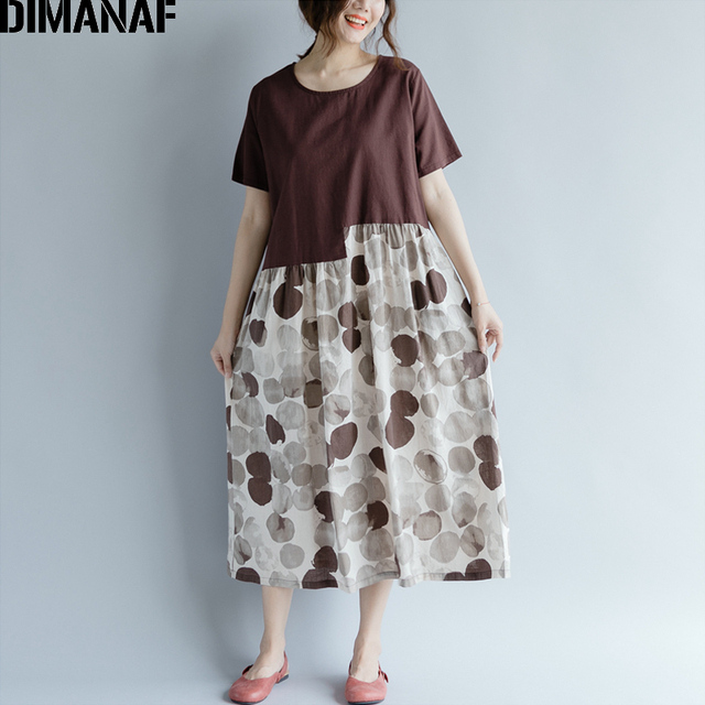 2937150dbc8 DIMANAF Women Dress Plus Size Summer Femme Sundress Clothing Linen Print  Dot Spliced Lady Elegnat Vestido Casual Long Dress 2018