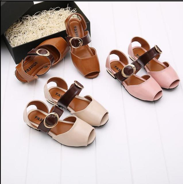 03fb0ff45d775 2018 summer Korean version of the new girl buckle small high-heeled fish  mouth sandals princess shoes tide