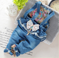 sale! Free shipping 2017 spring autumn Baby girls bow denim bib pants infant jumpsuit, girls rompers,Overalls