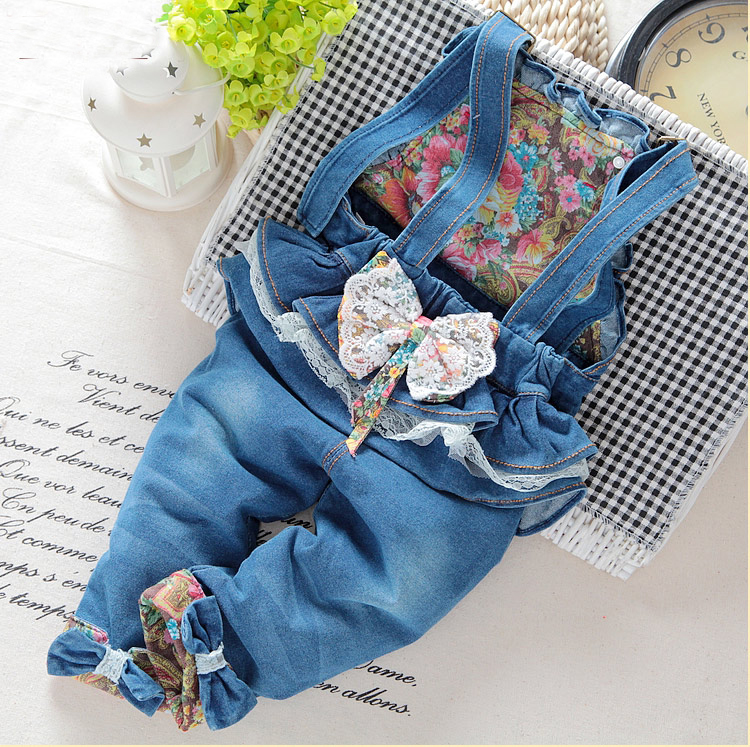 sale! Free shipping 2018 spring autumn Baby girls bow denim bib pants  infant jumpsuit, girls rompers,Overalls