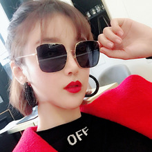 Square metal sunglasses Korean version retro polygon Fashion large frame sunglasseThin faces Internet celebrity