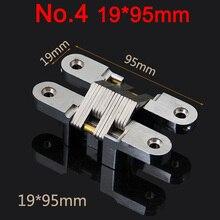 купить Hot 10PCS Stainless Steel Hidden Hinge 19x95MM Invisible Concealed Cross Door Hinge Bearing 25KG With Screw For Folding Door K98 дешево