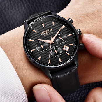 NORTH Men's Auto Date Chronograph Water Resistant Casual Luxury Military Quartz Wrist Watches 3