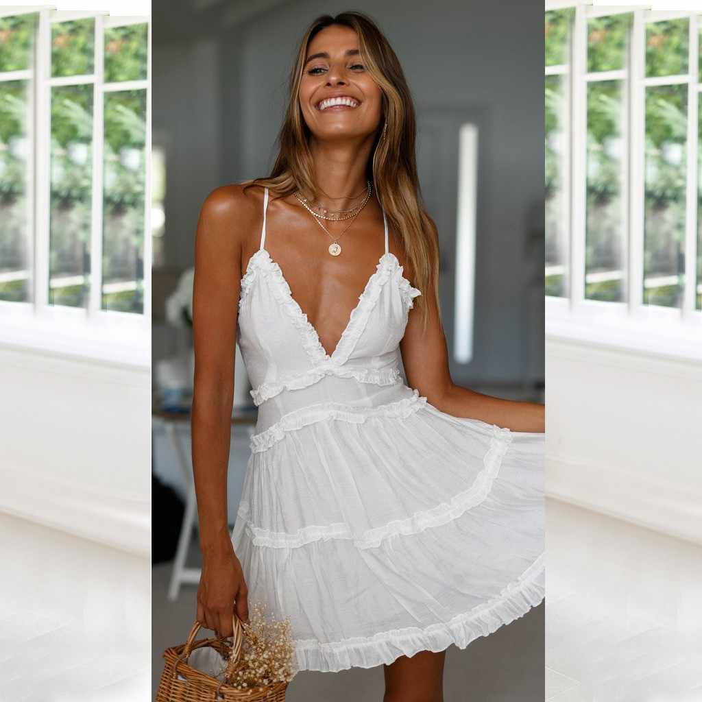 MUQGEW chiffon dress women sleeveless 2019 summer Fashion Women's Summer Pure Slip Dress Sundress Mini Dress#Y4
