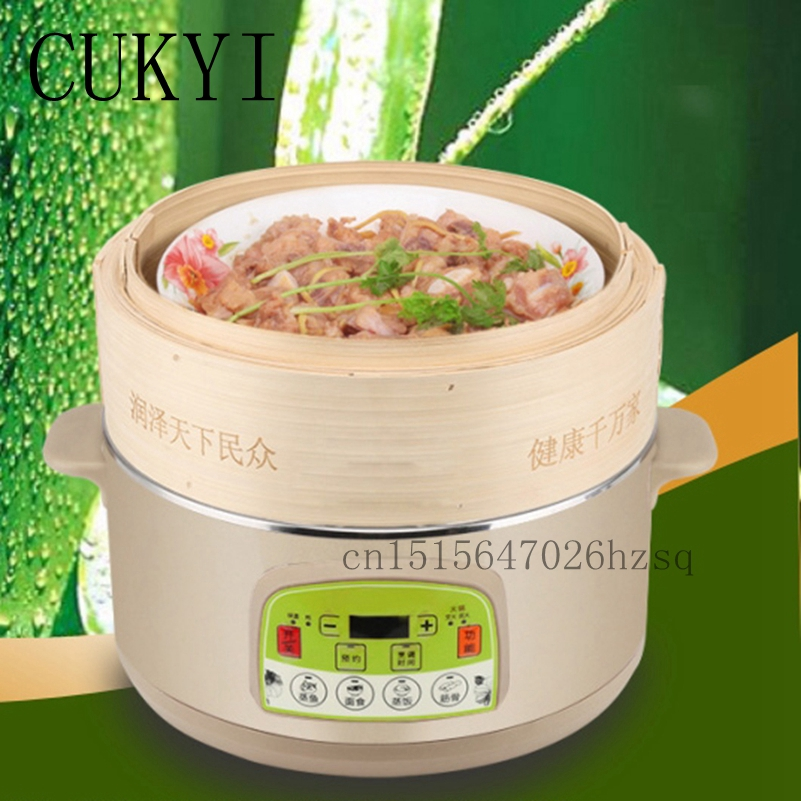 CUKYI Stainless liner 3 layers electric food steamer multi-functional bamboo Steamer Set timer cukyi household electric multi function cooker 220v stainless steel colorful stew cook steam machine 5 in 1