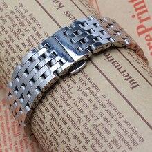 Para hombre accesorios correa 20 mm 22 mm plata maciza de acero inoxidable correa de reloj pulsera de la mariposa corchete Band reemplazo promoción