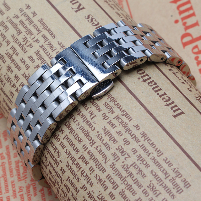 mens accessories Watchband 20mm 22mm Silver Solid Stainless Steel Bracelet Watch Band butterfly Clasp Replacement Band promotion