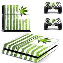 Green Leaf Weed PS4 Skin Sticker Decal For Sony PlayStation 4 Console and 2 Controllers PS4 Skin Sticker Vinyl