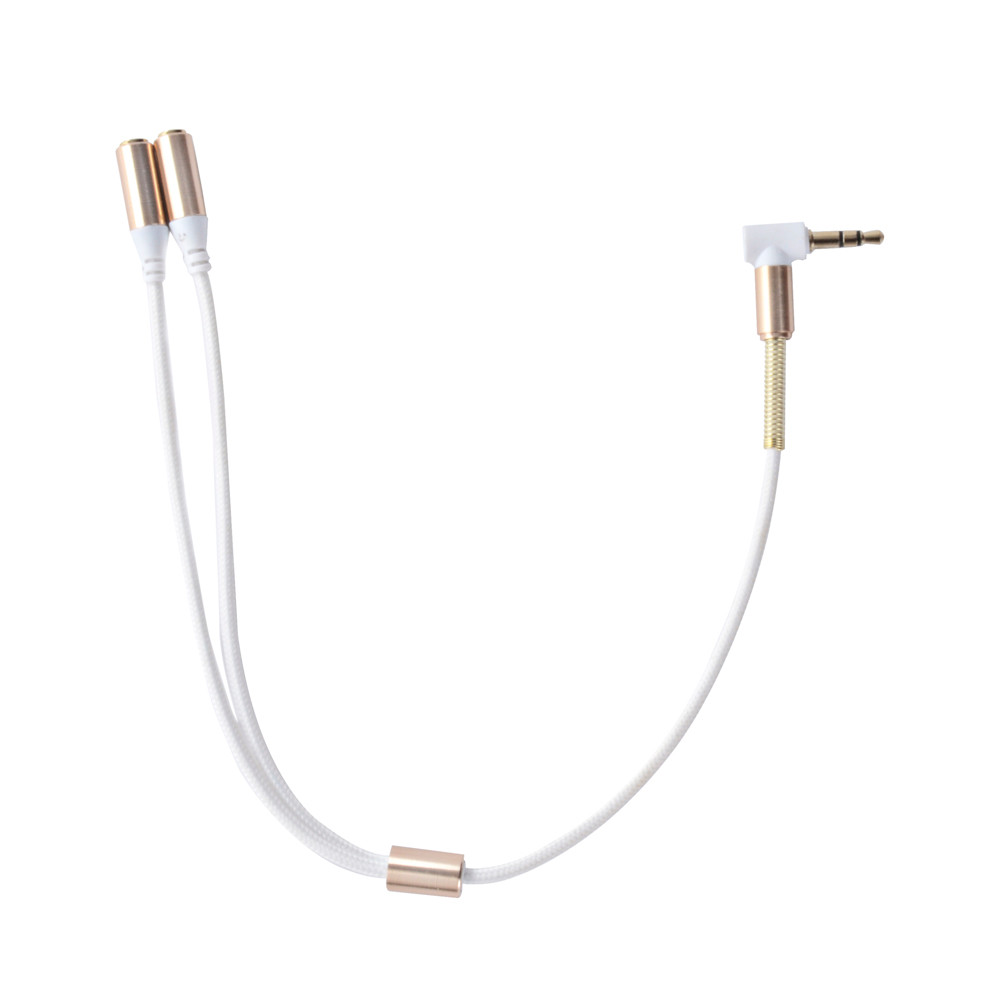 White Durable 3 5mm Dual Audio Splitter Cable Line Headset Jack Earphone Splitter Cable One In