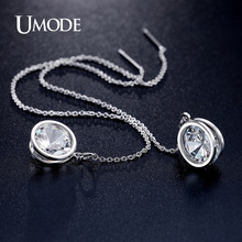 UMODE New Arrival Elegant Brand Drop Earrings White Gold Plated Long Earrings For Women Fashion Jewelry Boucle d'oreille AUE0205