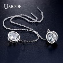 UMODE Nueva Llegada Elegante Marca Pendientes de Gota de Oro Blanco Plateado Pendientes Largos Para Las Mujeres Joyería de Moda Boucle d'oreille AUE0205