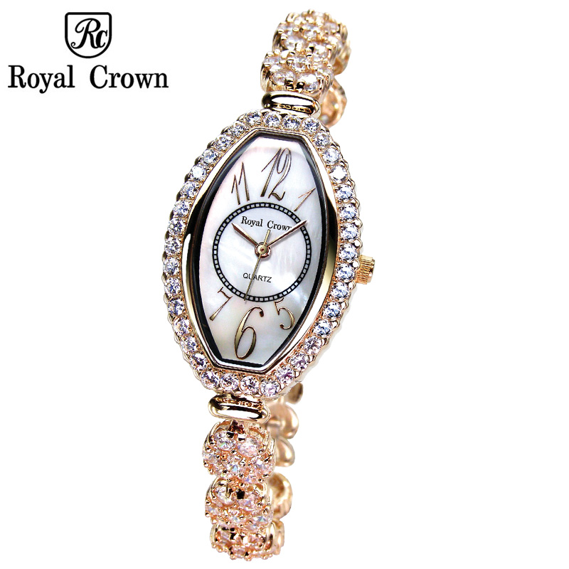 все цены на Royal Crown Lady Women's Watch Japan Quartz Jewelry Hours Fine Fashion Crystal Clock Bracelet Luxury Rhinestones Girl Gift онлайн
